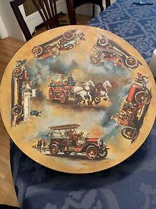 Springbok Vintage Circular Jigsaw Puzzle Antique Fire Engines 1972 , Complete