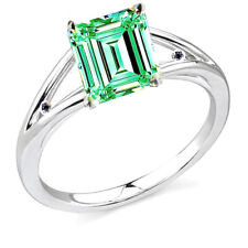 3+Emerald Blue Color Moissanite & Natural Black Diamond 925 Sterling Silver Ring