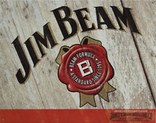 JIM BEAM - WOODCUT - LARGE METAL TIN SIGN 31.7CM X 40.6CM GENUINE AMERICAN MADE