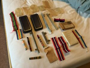 nice old job lot medal ribbon bars boxes was envelopes etc MID some old