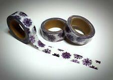 Washi Tape Sample 15mm x 1m weiss lila Blumen Nr.10