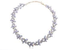 Gold Tone Elegant Winter Reef Petal Clear  Rhinestone Necklace Clr