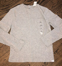 GAP Retail Kid Boy Gray Marled Pocket Long Sleeve Cotton T-Shirt Tee NWT MED (8)