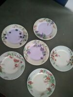 Hand Painted Haviland Limoges salad plates with fruit design, set of 6