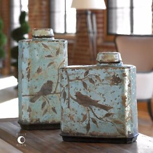 TWO FARMHOUSE AGED CRACKLED BLUE BROWN BIRD CERAMIC FREYA CONTAINERS BOTTLES