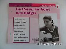 CARTE FICHE PLAISIR DE CHANTER JACQUELINE TAIEB LE COEUR AU BOUT DES DOIGTS