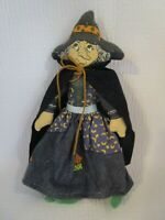 """Hallmark Winifred Witch Cloth Halloween Doll 6.75"""" in Cape & Dress Vintage 1970s"""
