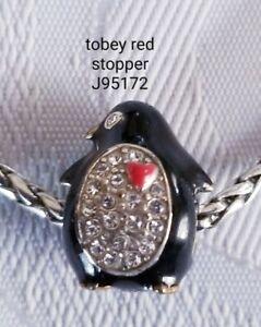 Brighton retired Tobey Penguin Red enamel Swarovski stopper bead J95172 B628
