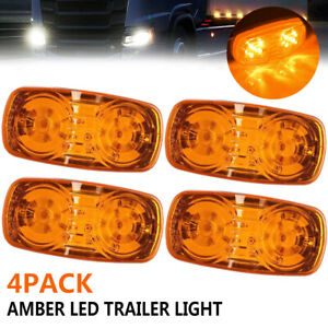 4x Amber 12LED Side Marker Caravan Lamp Trailer Truck Pickup Turn Signal Light