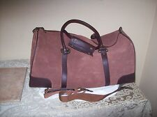 Brown Seude Leather Carry Bag with Shoulder Strap 21 x 10 x 10 New Never Used
