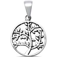 Plain Tree of Life Family Tree .925 Sterling Silver Charm Pendant
