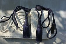 Two Vintage Luxury big Nautical Blue tie back with tassel drapery for window cur