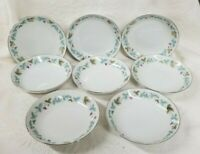 8 VINTAGE 6701 Desert/Fruit Bowls Fine China Japan Blue/Green Grape Leaf Pattern