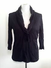Verge (NZ) size L black mesh v-neck top with three-quarter sleeves made in N.Z.