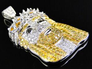 10k White Gold Yellow and White Diamond Jesus Piece Head Cross Pendant 2.1 Ct