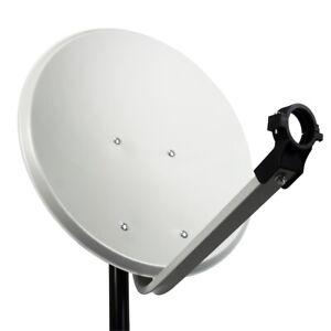 PremiumX PXS45 Satellitenschüssel 45cm Stahl Hellgrau Satantenne SAT Spiegel