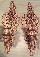 2 Burwood Gold Tone Candle Holders Home Interior Wall Rope Tassle Ornate Sconce