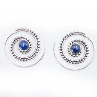 Lapis Lazuli Creolen Durchzieher Ohrringe Silber 925 Tribal Spirale Ohrhänger ST