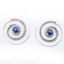 Lapis Lazuli Creolen Durchzieher Ohrringe Silber 925  Ohr Spirale Ohrhänger STS