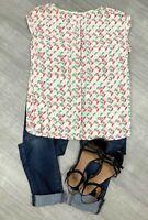 Ladies White Stuff Blouse Top Green Yellow Mix Short Sleeve Sz 10 Fashion