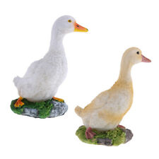 2pcs Duck Statue Garden Yard Decor Resin Yellow & White Art Crafts Gifts S