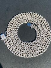 "6mm Miami Cuban Iced Solid 925 Silver Chain Necklace 16"" Choker - 30"" Men Ladies"