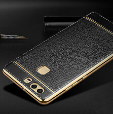 Luxury Ultra-thin PU Leather Back Case Cover For Huawei Ascend P9 Lite Black