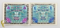 1944 Germany Post WWII Allied Military Currency 1 & 5 Mark (AU-UNC) Condition