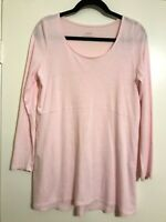PURE JILL Seamed Swing Tunic Size Small Cotton Modal Long Sleeve Scoop Neck Pink