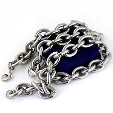 30'' 15mm Huge Stainless Steel Men's Smooth Curb Chain Necklace Heavy Large