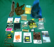 fly tying Lot, Feathers, capes,fur, body material, tinsels, silks hooks, (3)