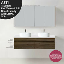 ASTI 1500mm Walnut Oak Timber Wood Grain PVC THERMAL FOIL Vanity w Stone Top