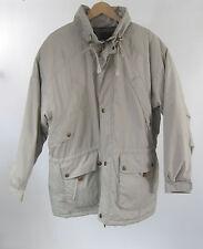 Northwest Territory Mens Anorak Beige Hidden Hood Coat Plaid Lining Sz L