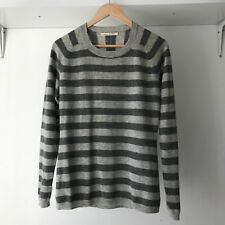 Banana Repubic Womens Grey Striped Long Sleeves Knit Sweater, AU Size 10
