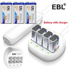 Lot 600mAh 9V Li-ion Rechargeable Batteries w/USB 4 Slots 9-Volt Lithium Charger
