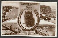 Postcard Roker and Seaburn nr Sunderland multiview Lucky Black Cat 1939 RP