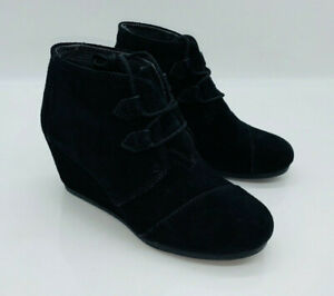 TOMS Women's Kala Oxford Wedge Ankle Boots Black Suede US 6 EUR 36.5    # S-13