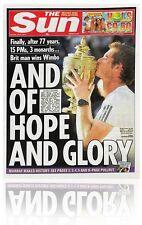 Andy Murray Wimbledon 2013 Final Historic The Sun Newspaper London 08.07.13 Mint