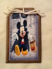 5 WOODEN Halloween MICKEY MOUSE Ornaments, HangTags,GiftTags,Ornies SET4g