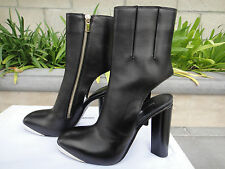 """Costume National Gasby, Square Toe Black Boot, 6.5"""" Shaft Ht, Size US6.5, 37"""