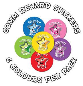 36 x 'Superstar Award' 60mm Child Reward Stickers - teachers, parents, schools