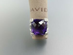 David Yurman Cushion On Point 15x15mm Ring With Amethyst and diamonds size 8