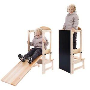Kids toddler children wooden KITCHEN HELPER learning tower stool chair set up