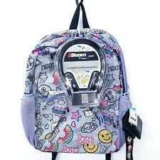 Star Point Tech Ready School Backpack Studio Headphones Gray Purple Canvas