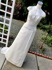 ALFRED ANGELO Gorgeous White Strapless Beaded Sequins Wedding Dress $1295