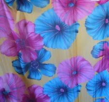 CHIFFON SHEER FABRIC TURQUOISE LILAC GOLD FLORAL LARGE PETAL SHEER FABRIC BTY