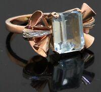 Antique 18K 2-tone gold 3.50CT aquamarine solitaire ribbon floral cocktail ring