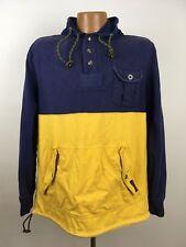 Vintage Polo Ralph Lauren Pullover Sweatshirt L Hoodie Yellow Navy Colorblock