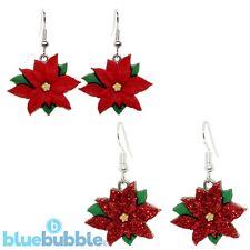 Bluebubble MERRY CHRISTMAS Poinsettia Dangle Earrings Novelty Funky Festive Fun