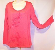 NEW w/Tag KIARA Coral LARGE Tee Style Top w/ APPLIED DESIGNS w/BEADS Scoop Neck